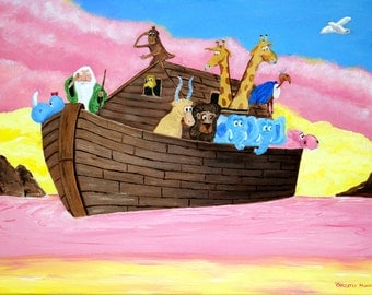 Fine Art Print, Noah's Ark 16x11.88 Fine Art Print, Children's Room Decor, Nursery Decor, Sunday School Decor