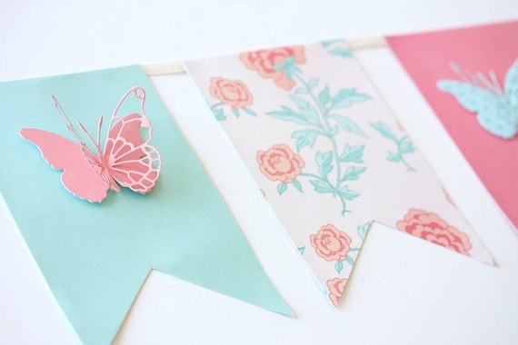 coral mint turquoise pink floral paper banner garland with butterflies