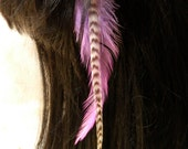 Feather Hair Extension Clip - Lavender and Wide Grizzly
