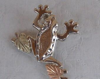 Black Hills Gold on Silver Jumbo Frog Slide Pendant