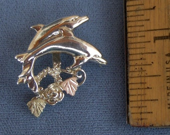 Whitaker's Black Hills Gold on Silver Double Dolphin Slide Pendant