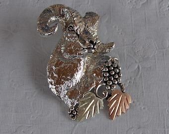 Whitaker's Black Hills Gold on Silver Big Horn Ram Head Pendant