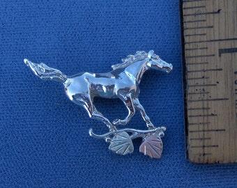 Whitaker's Black Hills Gold on Silver Mustang Slide Pendant