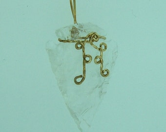 Rock Crystal Arrowhead Pendant / 14K Gold filled Wire Wrapped Gemstone Jewelry / Gifts For Dad / A7