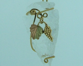 OOAK Rock Crystal Arrowhead Pendant w/ Black Hills Gold Accent // 14K Gold filled Wire Wrapped Jewelry A27