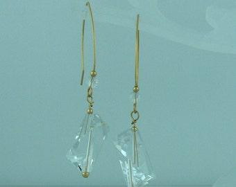 Handcrafted Rock Crystal Gemstone Earrings // 14K Goldfilled Jewelry