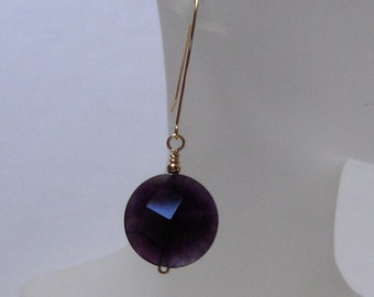 Handcrafted OOAK 14K Goldfilled Amethyst Faceted Coin Earrings /// February  Birthstone