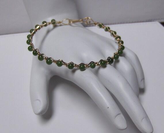 OOAK Handcrafted Genuine Jade Bangle Bracelet // Wire Wrapped 14K Goldfilled Gemstone Jewelry