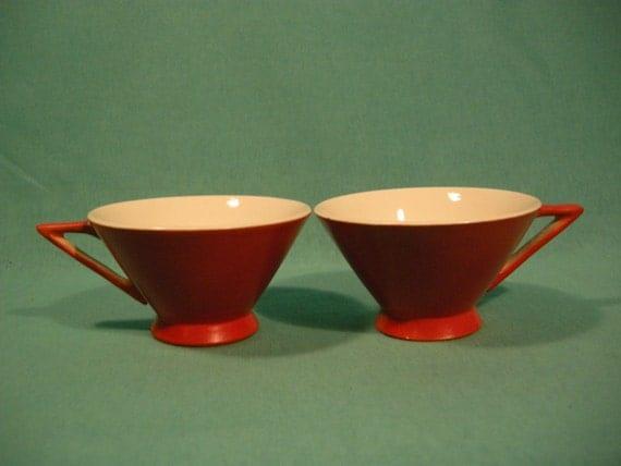 """Adorable Retro Red/Orange Mugs """"Stream Line by Salem"""""""