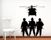 Military Troops, Chopper, Army, Airforce - Decal, Sticker, Vinyl, Wall, Home, Kid's Decor