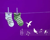 Song Birds, Line of Music, Notes, Treble Clef - Decal, Sticker, Vinyl, Wall, Home, Musical, Kid's Decor