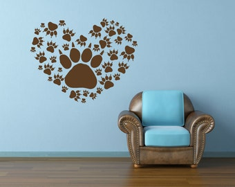 Animal Decal, Heart Decal, Paw Print Decal, Animal Decor, Paw Print Heart, Animal Shelter Decor, Veterianarian Decor, Dog Decal, Cat Claw