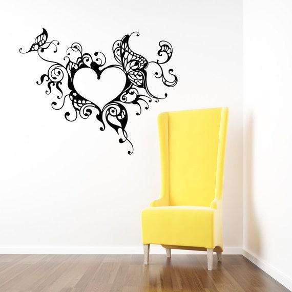 Heart Decal, Heart Decor, Butterfly Wings, Butterfly Decal, Butterfly Decor, Tween Room Decor, Nursery Decor, Girls Bedroom Decal, Wall Art