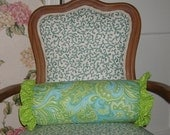 Roll Pillow with Ruffle Lime Green with Turquoise Paisley