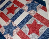 Table Runner Patriotic Red White  Blue  with Stars Stripes (Free Shipping on Patriotics)