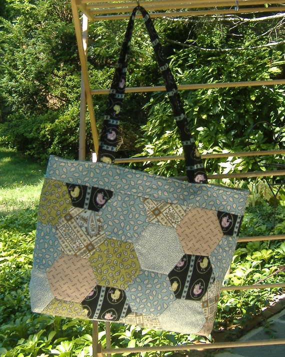 Quilted Market Tote Bag Hexagon Patchwork