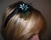 Feather Headband with Turquoise Beaded Flower
