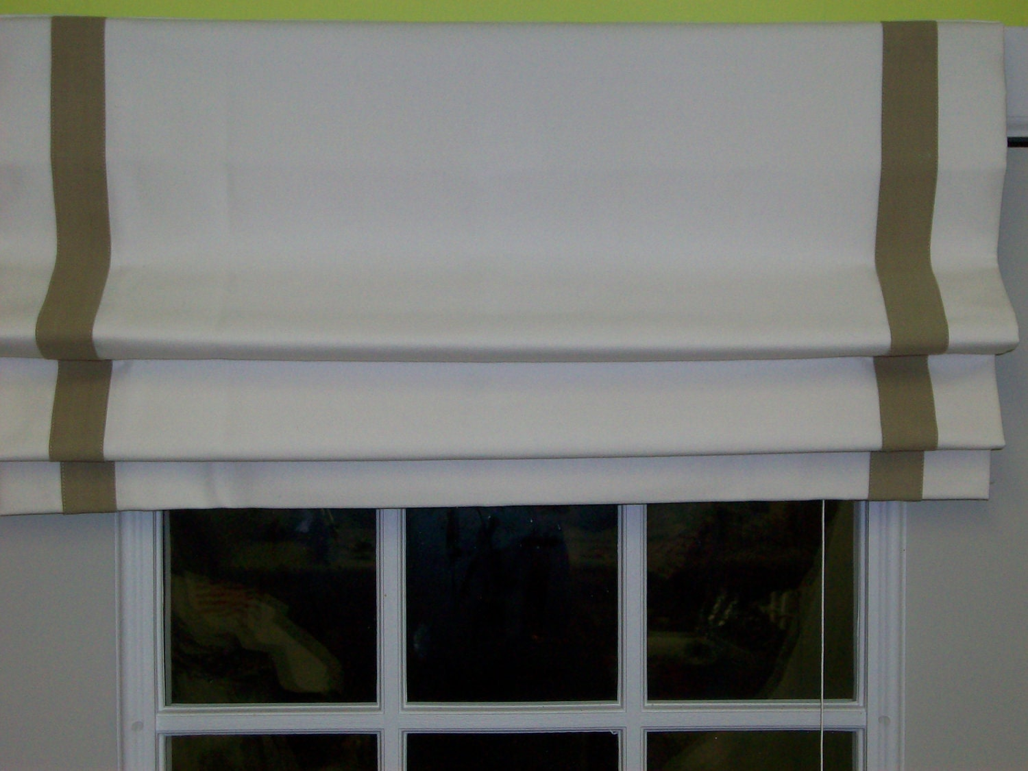 Flat Roman Shades With Ribbon Trim On Sides For Susan