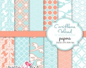 INSTANT DOWNLOAD caribbean island digital papers in aqua and coral - paper for scrapbooking, invitation design, party printables