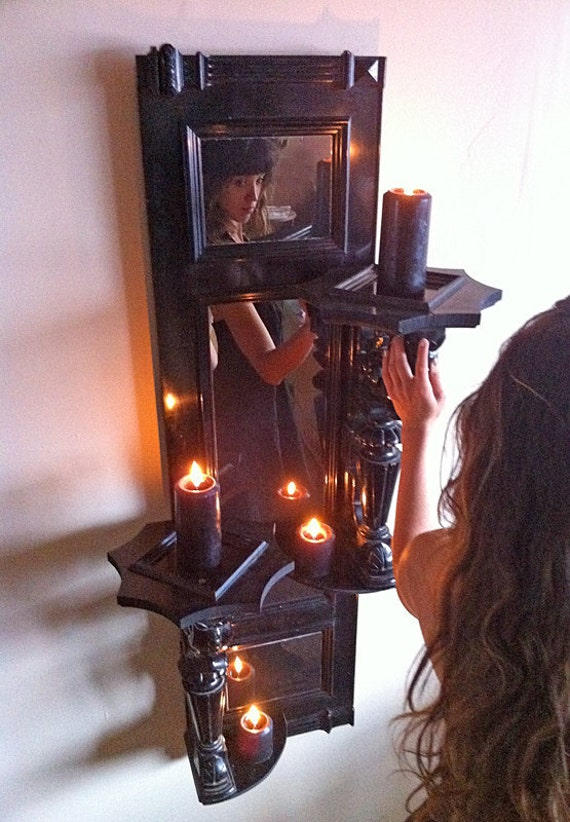 Large Gothic Wall Sconces : Large goth wall mirror / sconce black gothic candle shelf