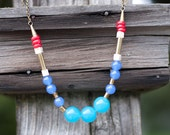 SALE - Colorful gemstone bead necklace antique patina : blue, deep blue, white and red