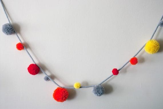 Neon orange, yellow, red and grey wool yarn pom pom garland 6ft / ready to ship