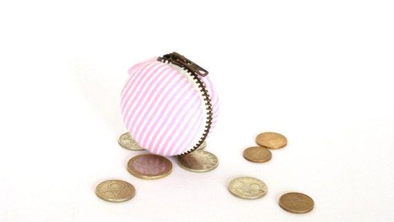 Pink stripes french macaron coin purse - change wallet, mini case purse