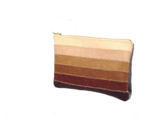 Chocolate brown medium zipper cosmetic pouch - felt pouch - small purse - cosmetic pouch