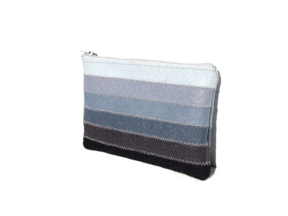 Lovely felt cosmetic pouch - white to dark gray shades - zippered medium pouch