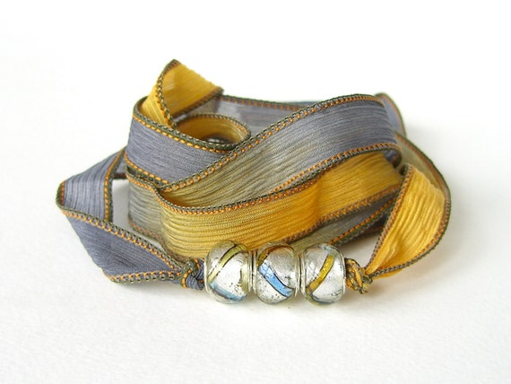 Bohemian silk wrap bracelet in charcoal grey and mustard yellow with hand dyed silk ribbon & Pandora style beads