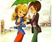 RESERVED for Dan - Let it rain, Vintage Postcard of a Big Eyed Girl and Boy by Ston