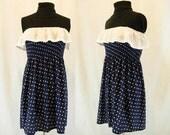 Nautical Strapless Mini Dress Blue and White Heart Polka Dots Sailor Style Retro Kitsch