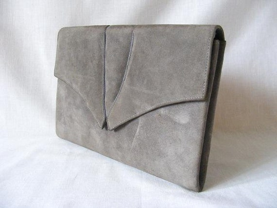 Grey Suede Leather Designer Clutch Bag Charles Jourdan Cross Body Handbag Purse