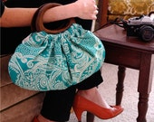 Purse in beautiful turquoise paisley print cotton fabric with wood handles, handmade bag