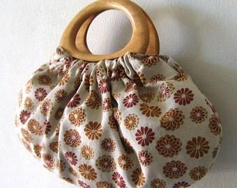 Wood Handle Purse in Beautiful Kimono Flower Pattern Cotton/Linen Fabric.