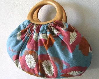 Wood Handles Japanese Cotton Fabric Handbag. Beautiful Aqua Blue, Pink, Brown, Burnt Orange Pattern