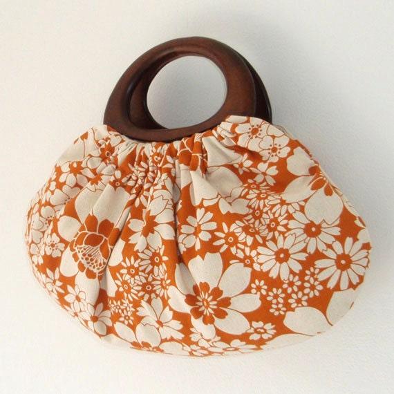 Handbag in orange flowers Japanese cotton/linen fabric with wood handles, handmade bag