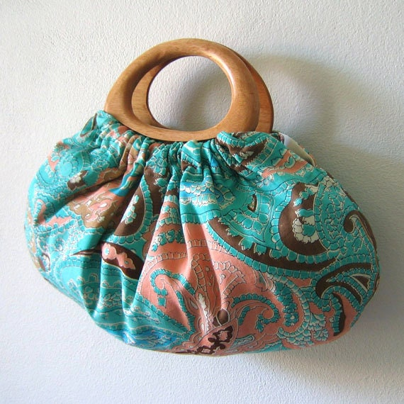 Wood handle purse in beautiful turquoise, light blue, peach & brown Indian paisley cotton fabric, handmade bag