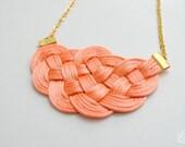 Big knot necklace - satin cord necklace - salmon and gold necklace, statement necklace, knotted necklace, orange necklace, peach necklace