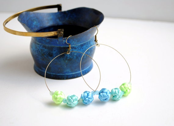 Hoop earrings with handknotted pastel rattail beads and bicone crystals, green, mint and blue - ready to ship
