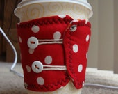 Reversible Coffee Cozy - Polka Dot - Butterfly - Lovely gift