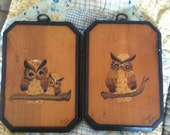 set of 2 vintage retro decopage wood owl wall plaques / wall art / home decor