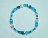 Beautiful Indicolite, Aqua and Clear Swarovski Crystals - Matching Cats' Eyes - Silver Daisies - Rhinestones Bracelet
