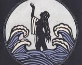 The birth of the goddess Venus - Handmade papercut, mythology, waves, woman