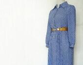 Vintage Dress Japanese S// 60s Dress// Stacey New York Takikyo Dress// Blue Dress Japan