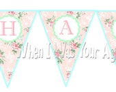 Instant Download Vintage Roses Printable Birthday Banner