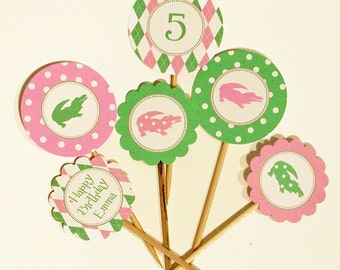 Preppy Pink and Green Printable Cupcake Toppers