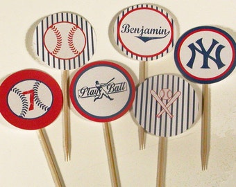 Personalized Printable Baseball Party Cupcake Toppers