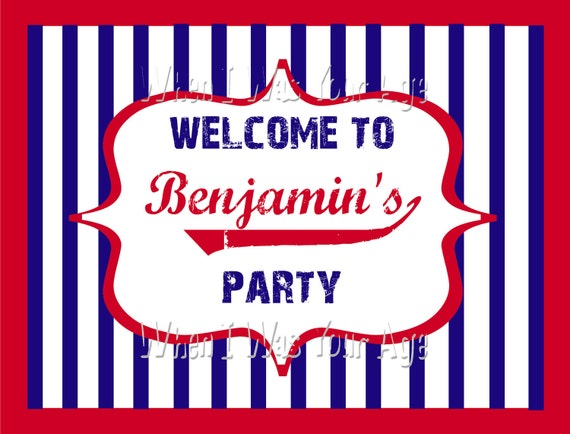 Customized Baseball Party Printable Welcome Sign