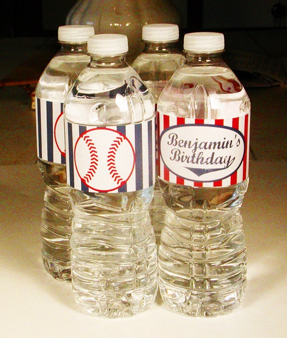 Printable Baseball Party Water Bottle Labels